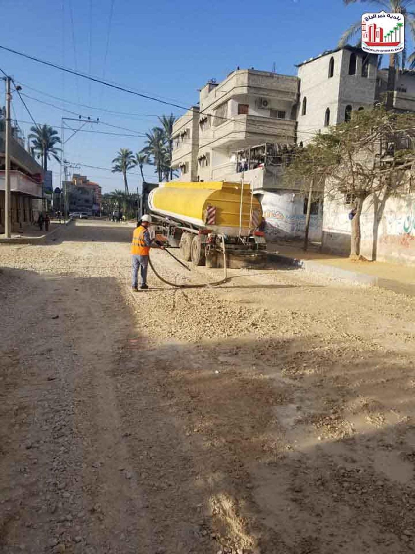 الانتهاء من أعمال بلاط الرصيف واعمال التسوية للبسكورس الطبقة الاولية لشارع النخل ضمن مشروع تطوير شار