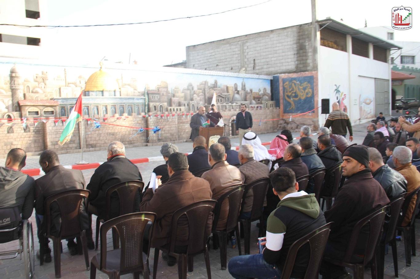 حفل افتتاح جدارية القدس بمدخل بلدية دير البلح